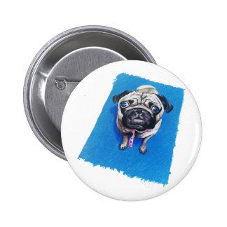 Pug Drawing 6 Cm Round Badge