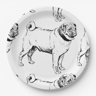 pug drawing.png 9 inch paper plate