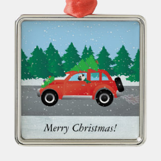 Pug Driving Car with Christmas Tree on Top Silver-Colored Square Decoration