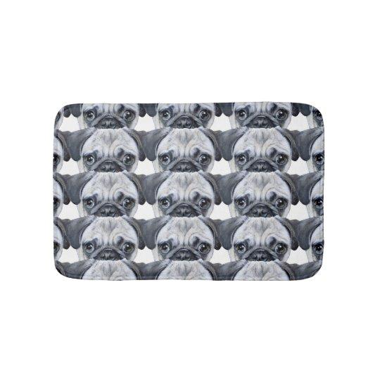 pug everywhere bath mat