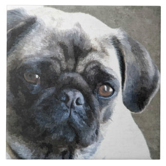 Pug Face Large Square Tile