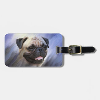 Pug face luggage tag