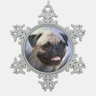Pug face snowflake pewter christmas ornament
