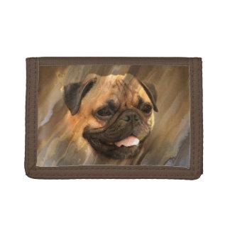 Pug face tri-fold wallets