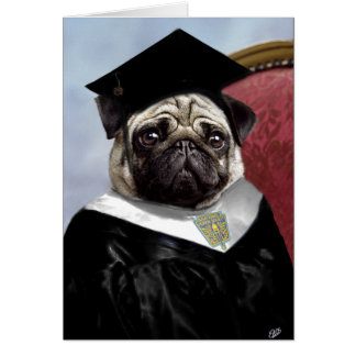 Pug family graduation card