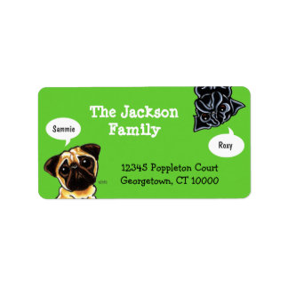 Pug Family Pet Name Personalized Custom Color Label