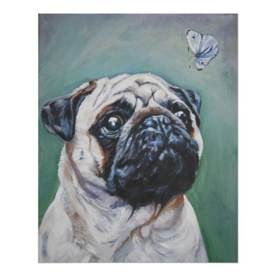 pug fawn and butterfly art print