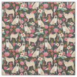 Pug Flowers florals design fabric