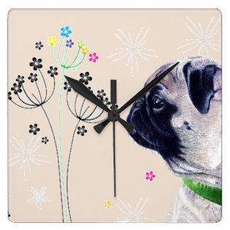 Pug & Flowers Wall Clock