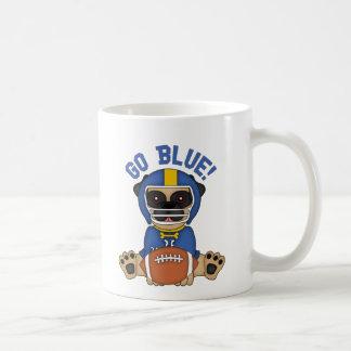 Pug Football Player Go Blue! Coffee Mugs