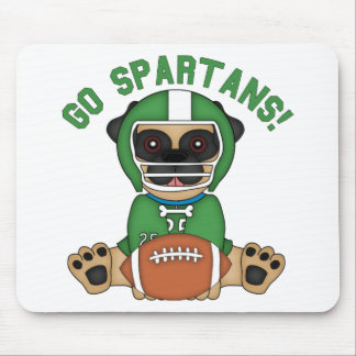 Pug Football Player Go Spartans Mouse Pads