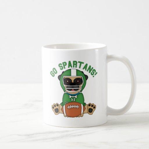 Pug Football Player Go Spartans! Coffee Mugs