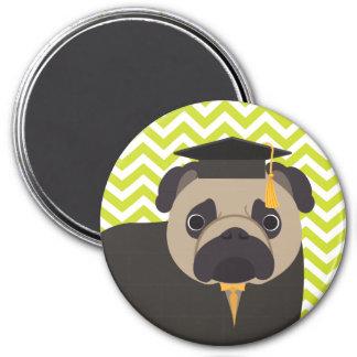 Pug Graduate Green Chevron Stripe Pattern 7.5 Cm Round Magnet