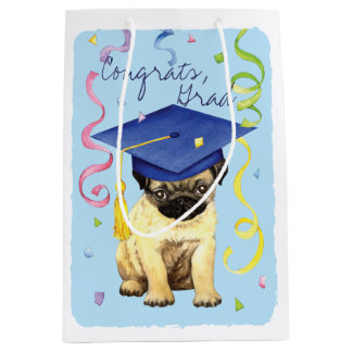 Pug Graduate Medium Gift Bag