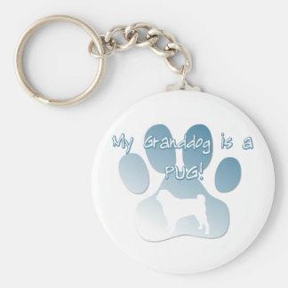 Pug Granddog Basic Round Button Key Ring