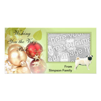 Pug Green Leaves Design Photo Cards