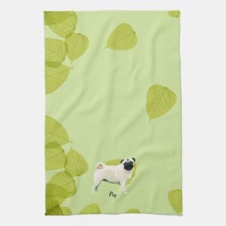Pug ~ Green Leaves Design Tea Towel