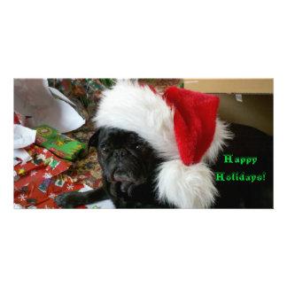 Pug Happy Holidays flat photo greeting card