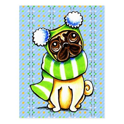 Pug Happy Scarf n Hat Winter Postcard