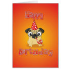 pug - hat&whistle - happy birthday card