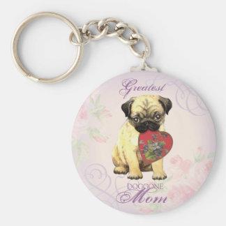 Pug Heart Mom Basic Round Button Key Ring