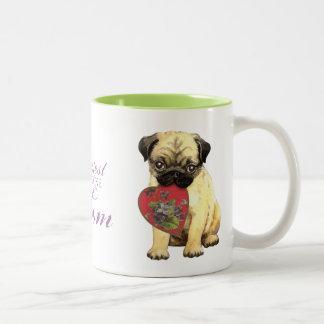 Pug Heart Mom Two-Tone Mug