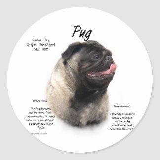 Pug History Design Stickers