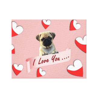 Pug I Love You Valentine Hearts Gallery Wrapped Canvas