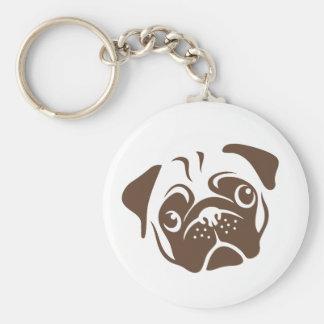 Pug Illustration Basic Round Button Key Ring