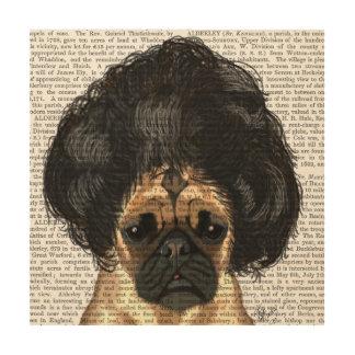 Pug In A Bad Wig Wood Wall Art