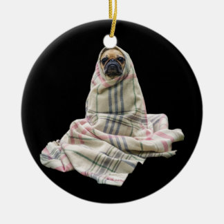 Pug in a Blanket Christmas Ornament
