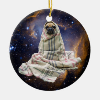 Pug in a Blanket in Outer Space Christmas Ornament
