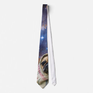 Pug in a Blanket Outer Space Tie