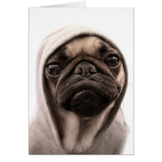 Pug In A Hoodie Card