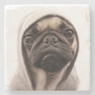 Pug In A Hoodie Stone Coaster