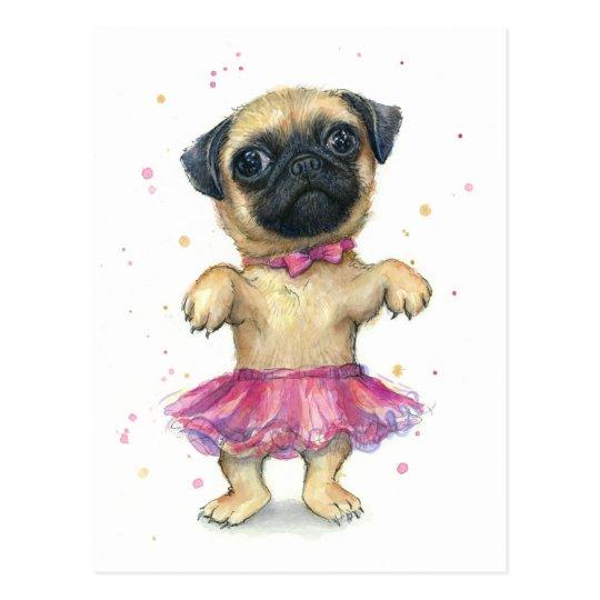 Pug in a Tutu Cute Puppy Painting Postcard