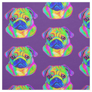 Pug in Colors Fabric