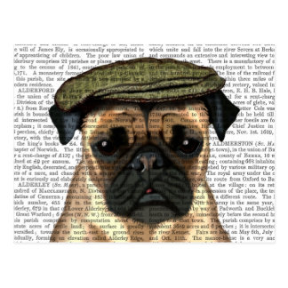 Pug in Flat Cap Postcard