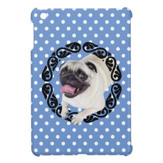 Pug in frame polka dots iPad mini cover