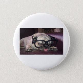 Pug In Glasses 6 Cm Round Badge