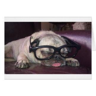 Pug In Glasses Card