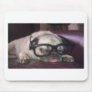 Pug In Glasses Mouse Mat