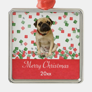 Pug in Hand Painted Christmas Confetti Christmas Ornament