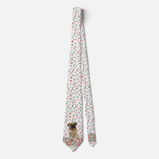 Pug in Hand Painted Christmas Confetti Tie