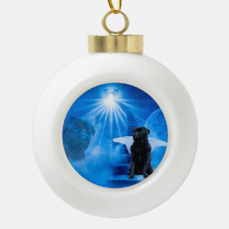 Pug in Heaven as Angel Sympathy Ceramic Ball Decoration