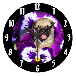 Pug in Pansies Large Clock