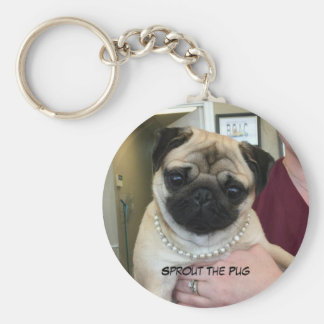 Pug In Pearls Basic Round Button Key Ring