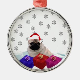 Pug in Snow with Gifts and Santa Hat Christmas Ornament
