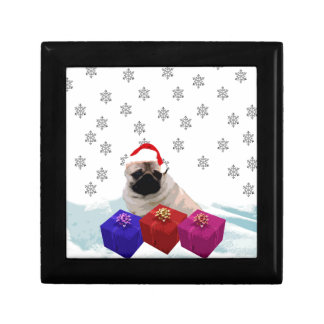 Pug in Snow with Gifts and Santa Hat Gift Box