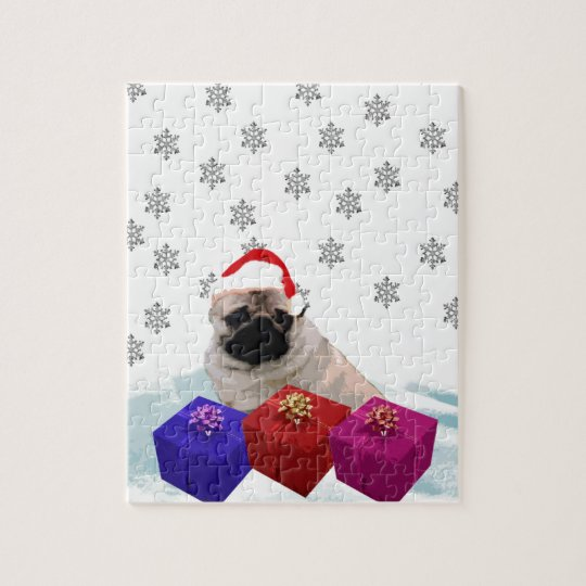 Pug in Snow with Gifts and Santa Hat